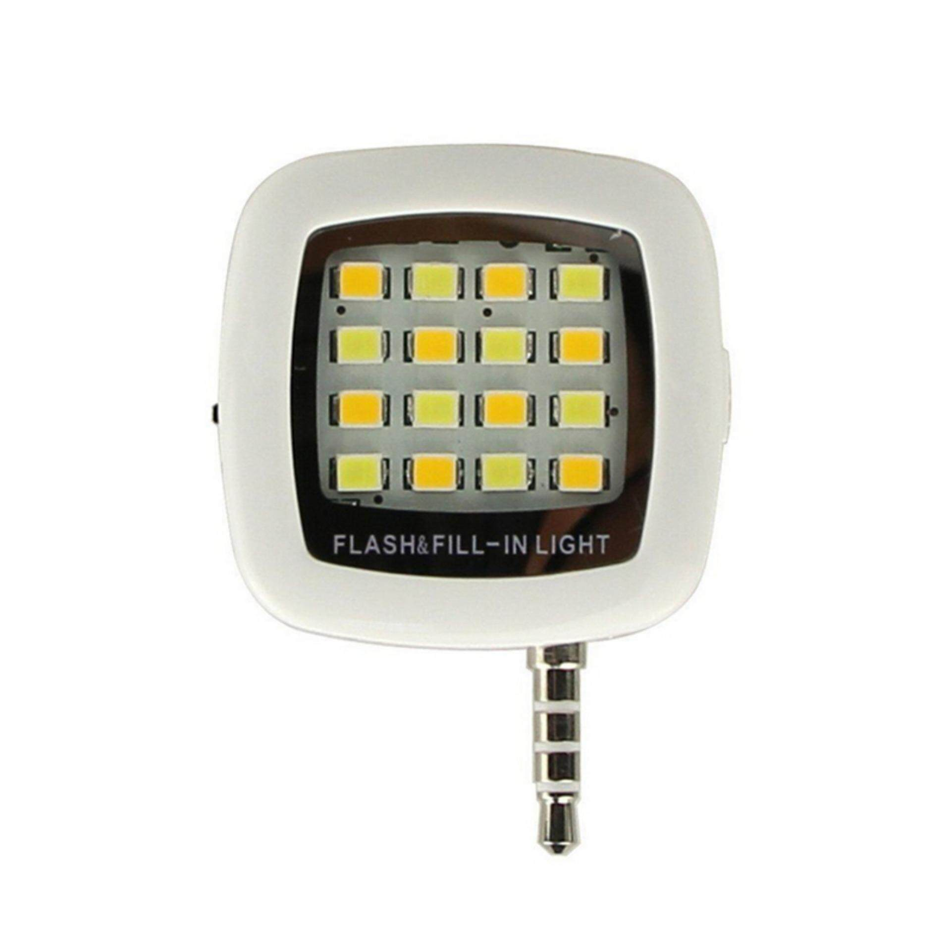 3.5mm Jack Smart Selfie 16 LED Camera Flash Light For IOS Android iPhone 5s 6 6+ White
