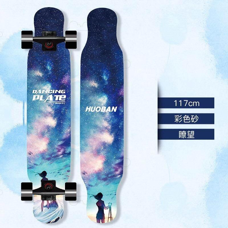 Huoban 46 Inch Drop-Melalui Papan Skateboard Longboard Lengkap untuk Ukiran Menurun Berlayar Gaya Bebas Naik Cruiser (DROP Melalui Deck- camber Cekung) -Intl