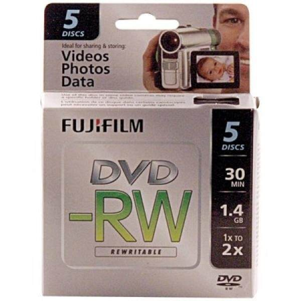 Blank Media Fujifilm 25302425 1.4GB Mini DVD-RW for Camcorder (5pk) - intl