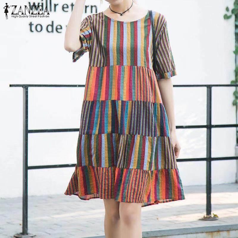 ZANZEA Women Casual Loose Flare Cotton Sundress Beach Party Plus Size Dress - intl
