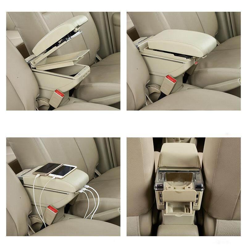 (Beige) untuk Chevrolet TRAX Kotak Sandaran Tangan Antar Muka Pengisi Daya USB Meningkatkan Toko Pusat Kotak Konten Asbak Pegangan Cangkir Aksesoris
