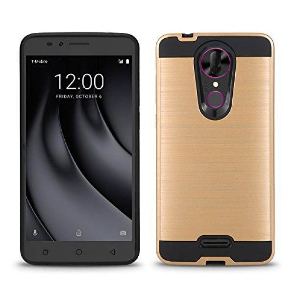 Smartphone Cases Cases T-Mobile REVVL Plus Case, Coolpad REVVL Plus Case, Tough Hybrid + Dual Layer Shockproof Drop Protection Metallic Brushed Case Cover + Screen Protector (VGC Gold + Screen Protector) - intl