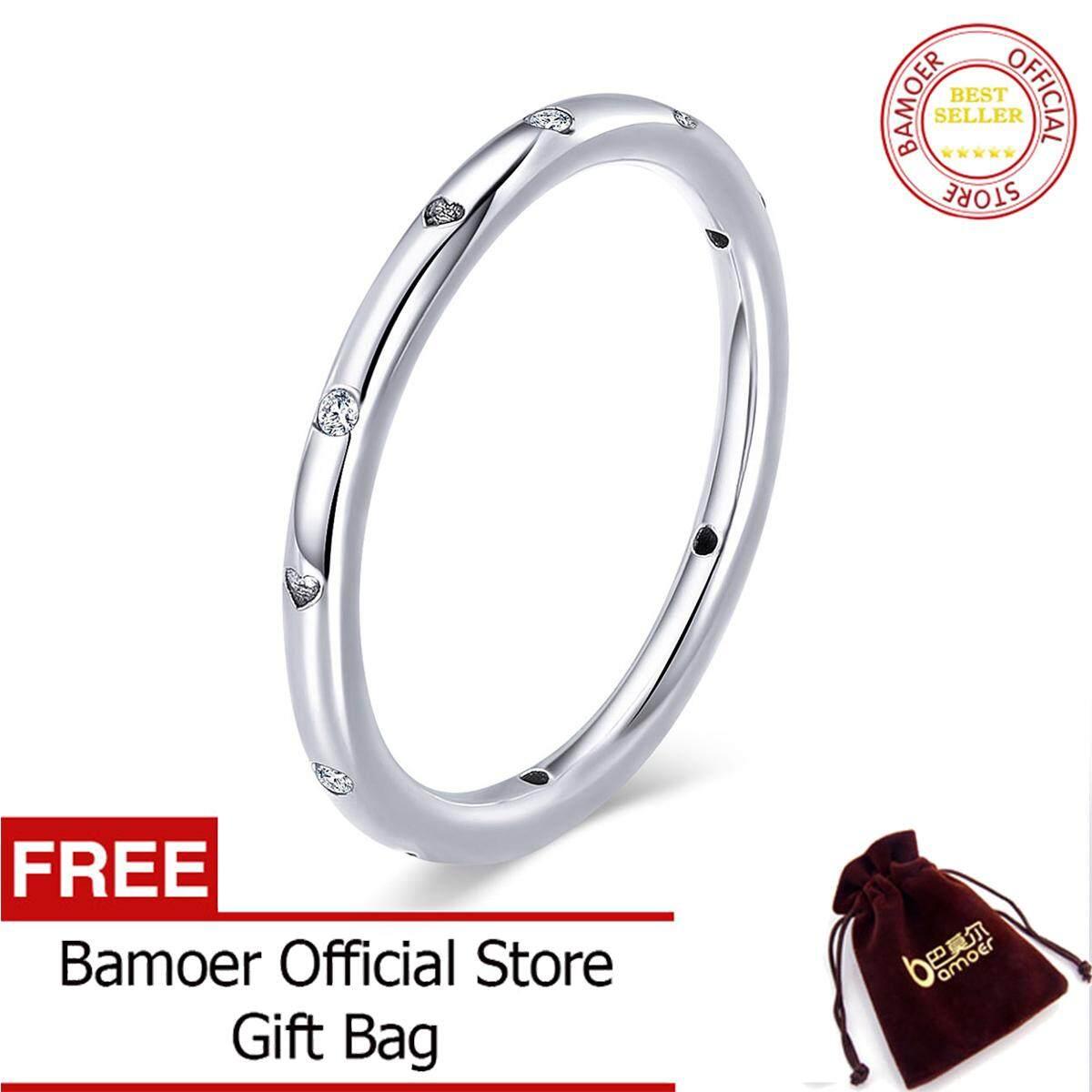 Bamoer Gratis Shpping 100% 925 Perak Berkilau Agustus Bening CZ Kristal Bulat Pertunangan Jari Cincin untuk Wanita Sterling Perhiasan Perak S925 SCR374