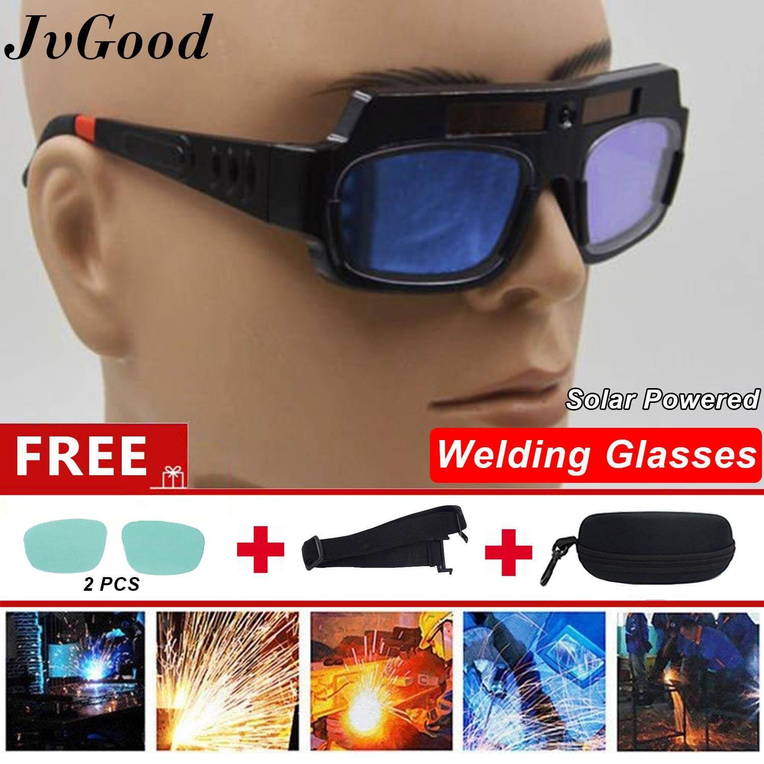 JvGood Solar Powered Safety Goggles Welding Glasses Eye Protection Glasses Eyes Goggles Welder Glasses Auto Darkening