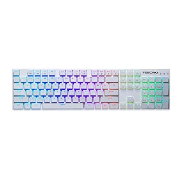 Tesoro Gram XS G12ULP Blue Ultra-Slim Mechanical Switch Chicklet Style Beycap Full Color RGB LED Backlit Illuminated Mechanical White Ultra-Low Profile Keyboard TS-G12ULP W (BL) - intl Singapore