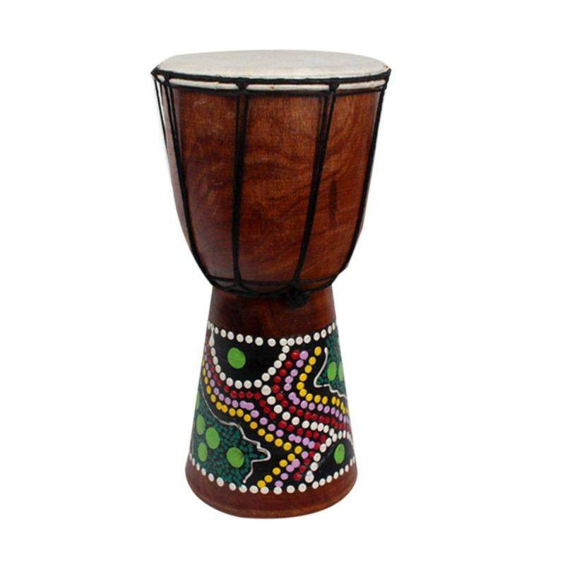 Beau 6 Inch African Djembe Percussion Mahogany Hand Drum with Goat Skin Surface