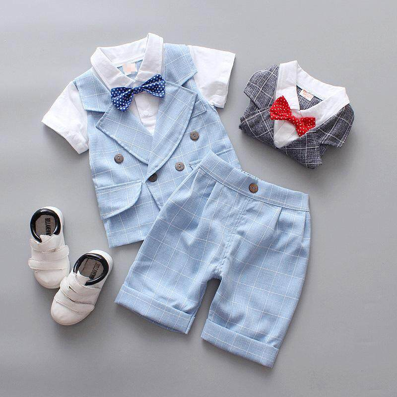 89b8a1111eb43 Formal Baby Boy Clothes Set With Gentleman Bow Tie Suit Infant Clothing  Short Sleeve Kids Clothe