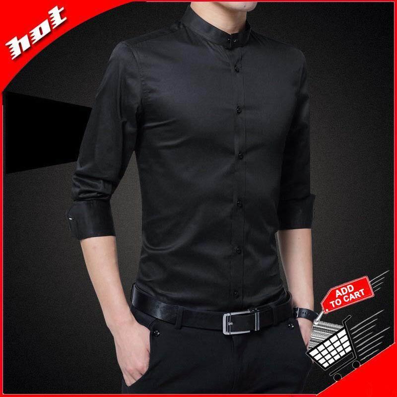 Ocean New Fashion Men Formal Shirts Long Sleeve Self-Cultivation Pure Cotton Mandarin Collar Business Occupation Shirt(black) By Ocean Shopping Mall.