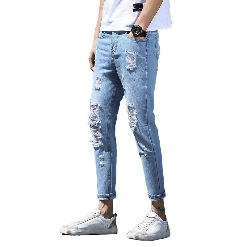 Mens Fashion Jeans Regular Waist Stretch Slim Super Comfy Ripped Jeans Cropped Pantsb92 By Aiguangjie.
