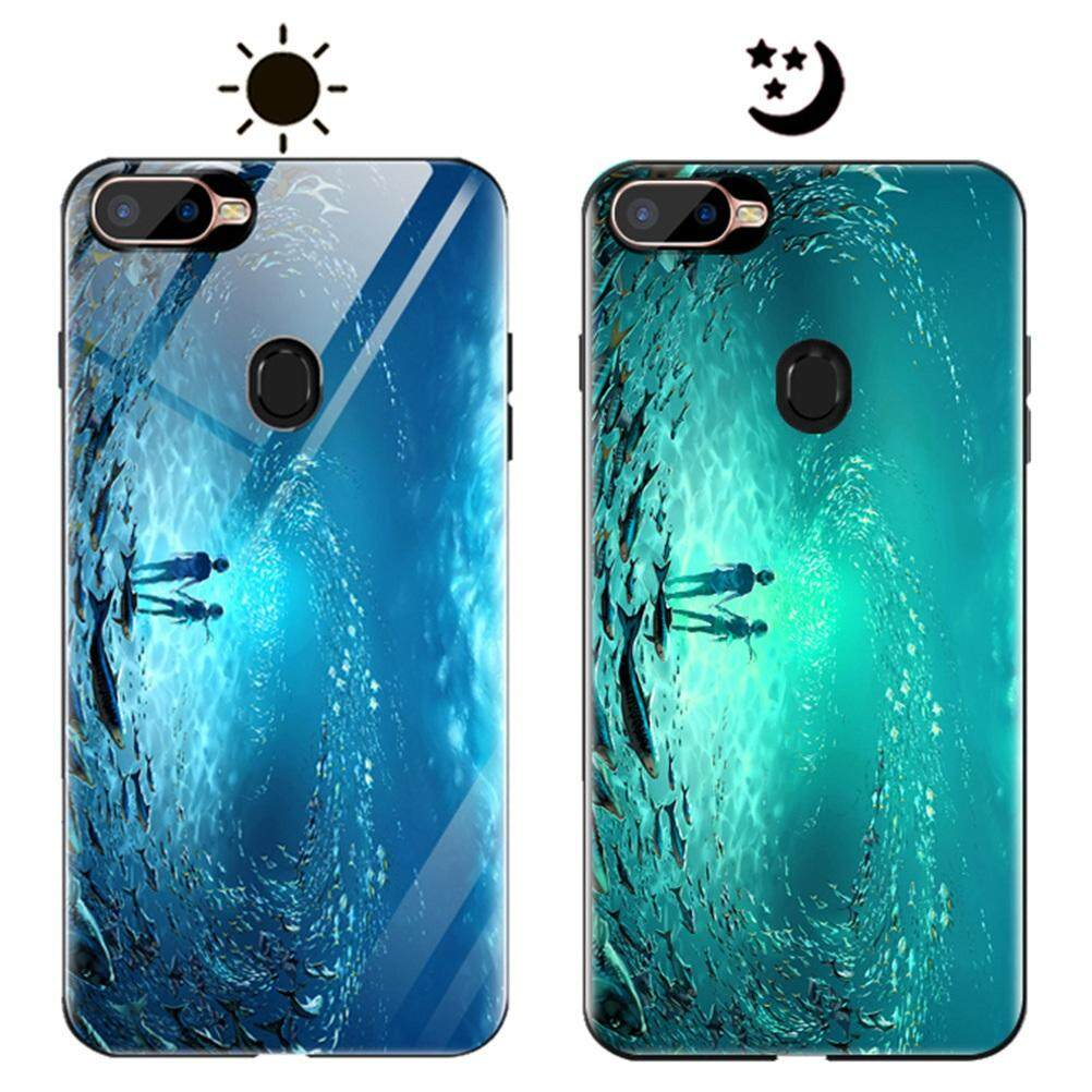 Hicase For OPPO A7x Beautiful Luminous Effect Tempered Glass Hard Back Phone Cover TPU Bumper Protective Case