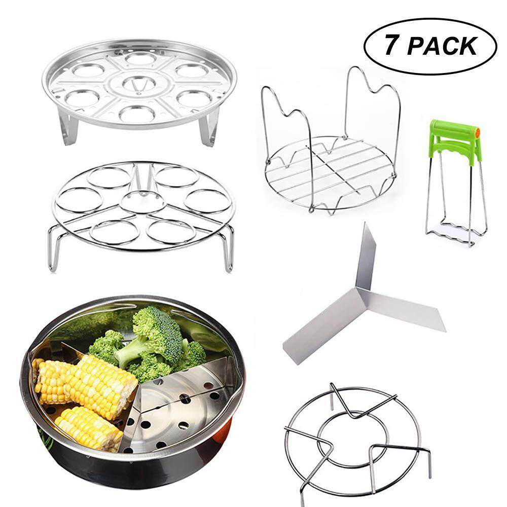 Aolvo Steamer Basket Set Stainless Steel For Instant Pot Accessories, Includes Egg Steamer Rack Trivet, Steamer Rack, Bowl Dish Clip, Dividers, Steamer Basket, Steaming Stand, Fits 5,6,8 Qt Pressure Cooker, 7 Pcs Set By Aolvo.