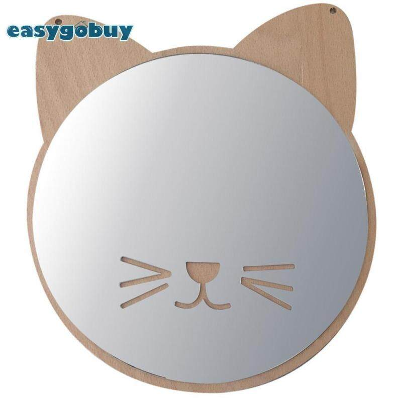 Cute Cat Shape Wooden Acrylic Wall Hanging Decorative Mirror Desktop Ornaments Home Decor Gifts