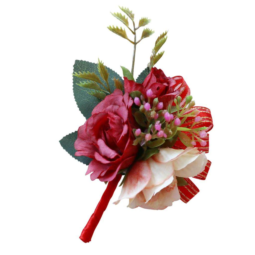 GuangquanStrade Artificial Silk Corsage Boutonniere Flowers Wedding Party Prom Vintage Red