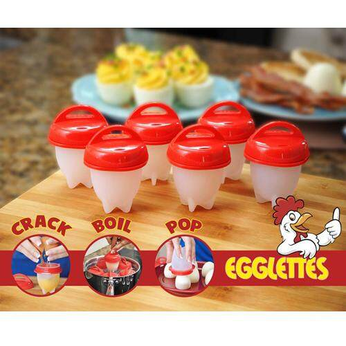 【1 Box = 6 Pcs】Egglettes Egg Cooker Non Stick Silicone Hard Soft Maker Boiled Eggs without the Shell