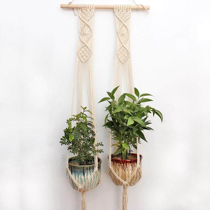 2PCS Macrame Plant Hanging Planter Wood Stick Basket Wall Art Hanger Indoor Outdoor Hand Knit - intl