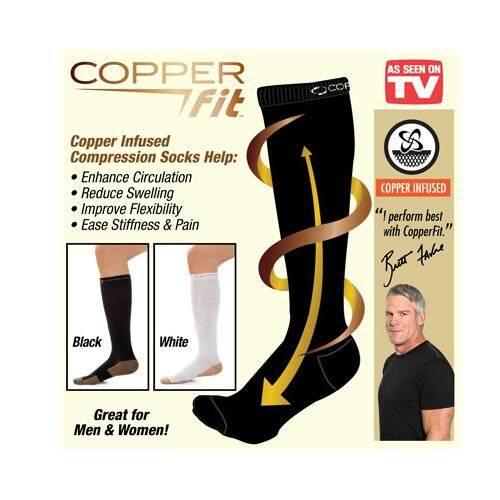 (S/M - Black Colour)Copper Fit Energy Compression Knee High Socks