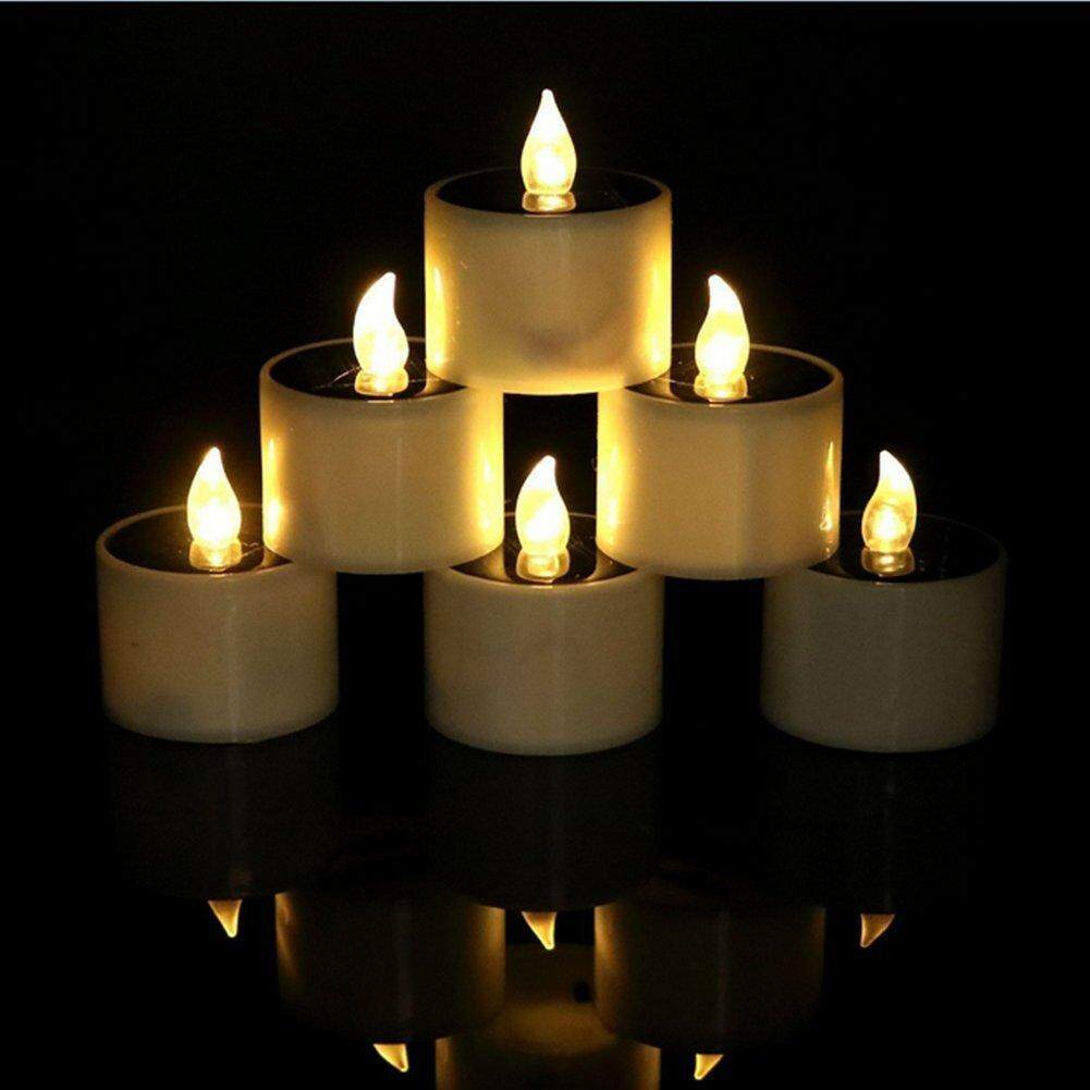 Solar Candles Lights,Set of 6 Warm LED Solar Flameless Tealights Candles for Home Yard Decor,Warm White Flickering Outdoor Solar Camping Lights Lamp - intl