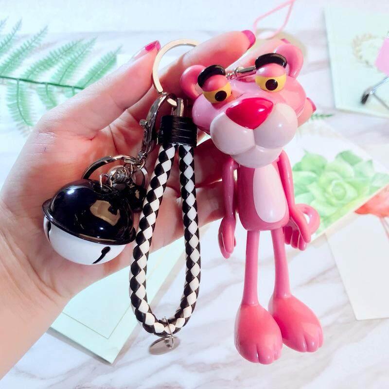 Kartun Lucu Merah Muda Leopard Boneka Gantungan Kunci Modis Bell Beberapa Rajutan Kulit Gantungan Kunci-