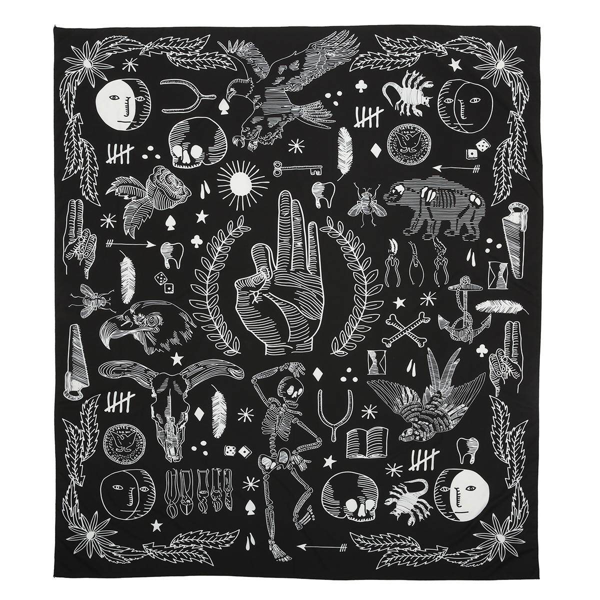 Eagle Bear Rose Flower Wall Hanging Tapestry 2017 New Design Black White Fashion Boho