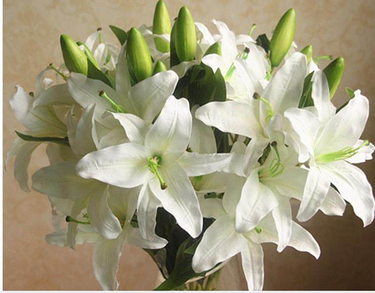 GuangquanStrade Simulation 6-Head Flowers Lily Artificial Plant Home Decor Momthers Gifts