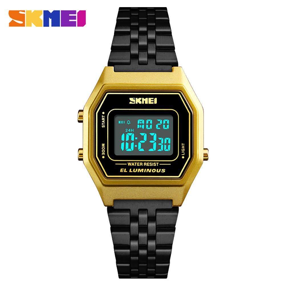 SKMEI 1345 Men Fashion Casual Sports Wristwatch Analog Digital Watch 3ATM Water Resistant Stainless Steel Strap