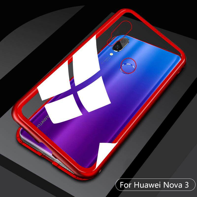 Terbaru Adsorpsi Magnetik Bumper Logam Casing untuk Huawei Nova 3 Case S Slim Kaca Antigores Cover 2 In 1 Bingkai Alumunium Penyedot Magnet Shell