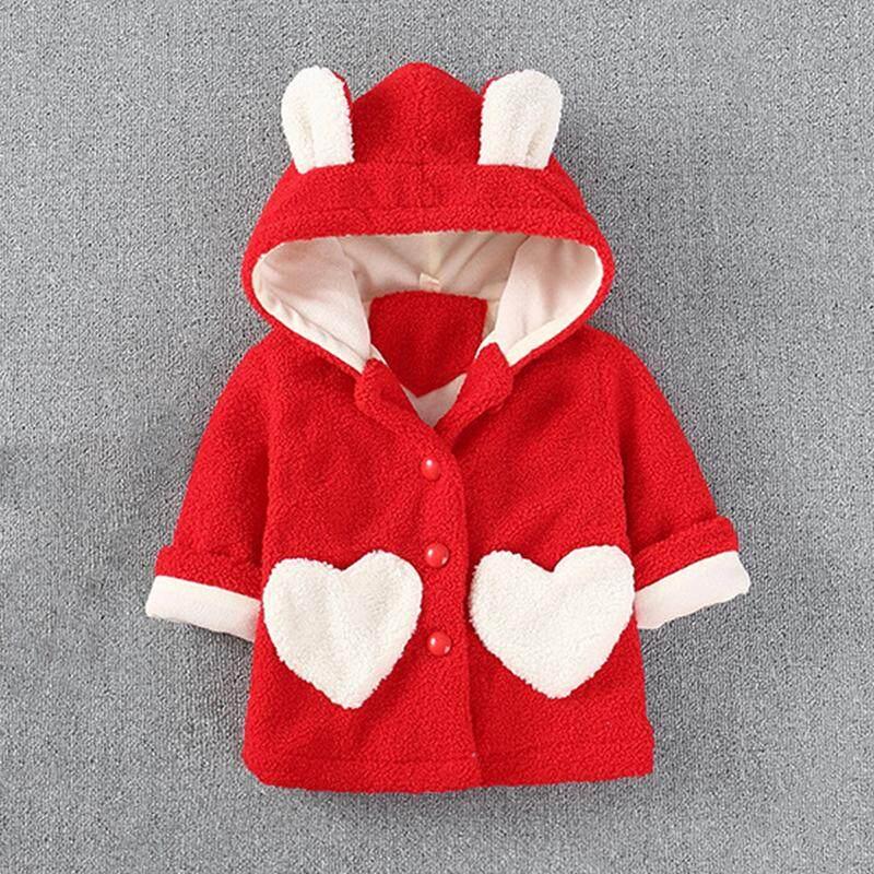 Cutiebaby Anak-anak Bayi Perempuan Balita Hangat Musim Dingin Anak Cinta Hati Kantong Mantel ?