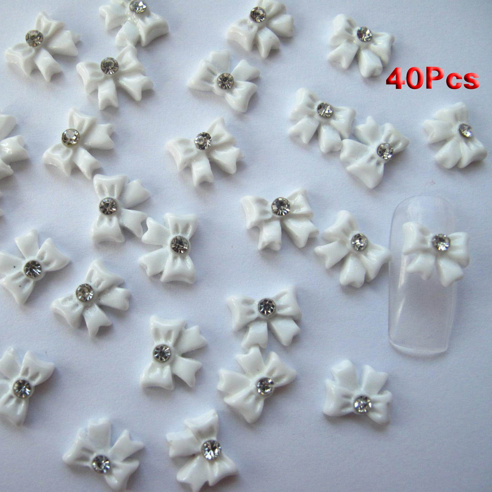 Nail Art 3d 40 Piece White BOW TIE /RHINESTONE for Nails, Cellphones 1.1cm - intl Philippines