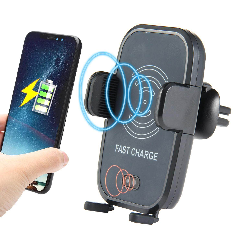 Leegoal Inframerah Otomatis Tetap Pengisi Daya Mobil Ventilasi Udara Tempat Ponsel Gravitasi Penginderaan Otomatis Daya Mobil 10 W Qi Fast Charge untuk iPhone X/8/8 plus, samsung GALAXY S8/S8 Plus/S7/S7 EDGE, Note 8/5 Dll