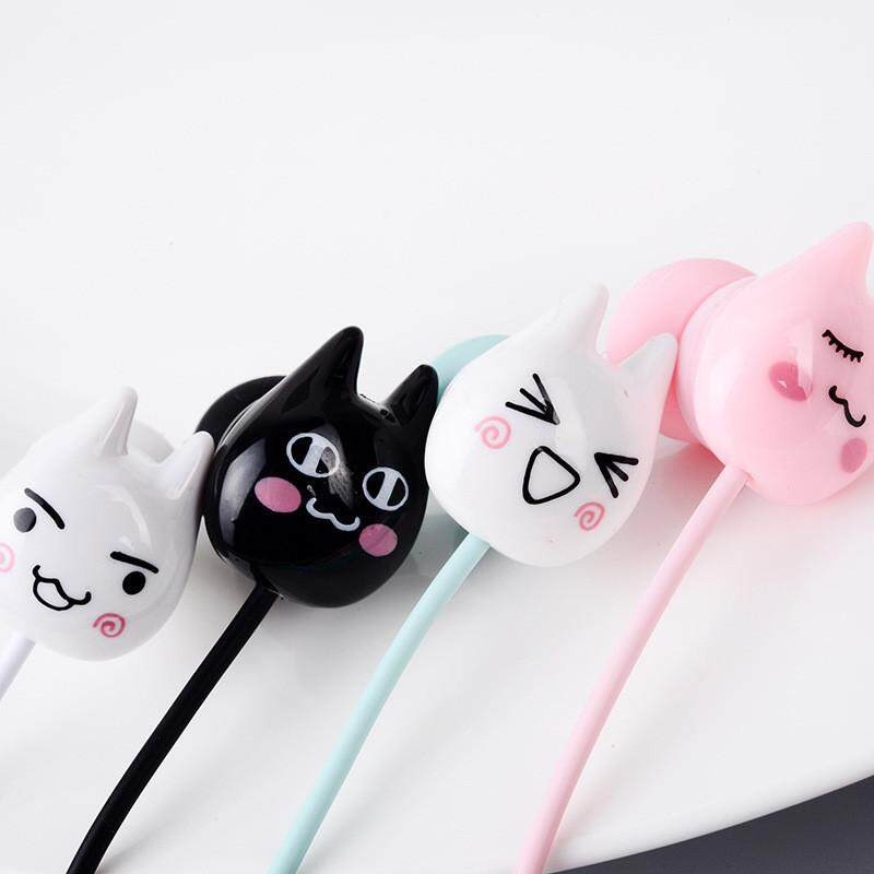 Cute Cat emoji 3 5mm in-ear Stereo Earbuds Earphones with mic Earphone Case  Box for iPhone Xiaomi Girls Kid MP3 Gifts