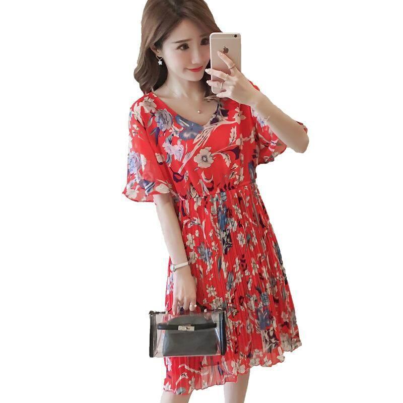 Mode Menyusui Bunga Bunga Lengan Pendek Hamil Gaun Sifon Wanita Panjang-Intl