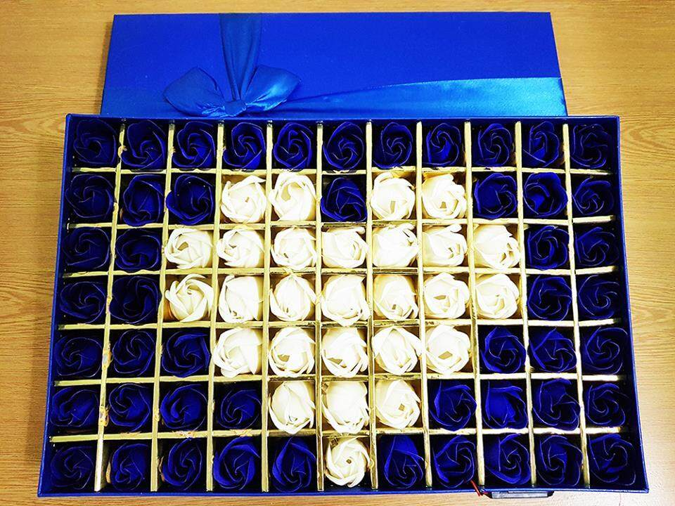 Love Blue Rose Gift Box With LED