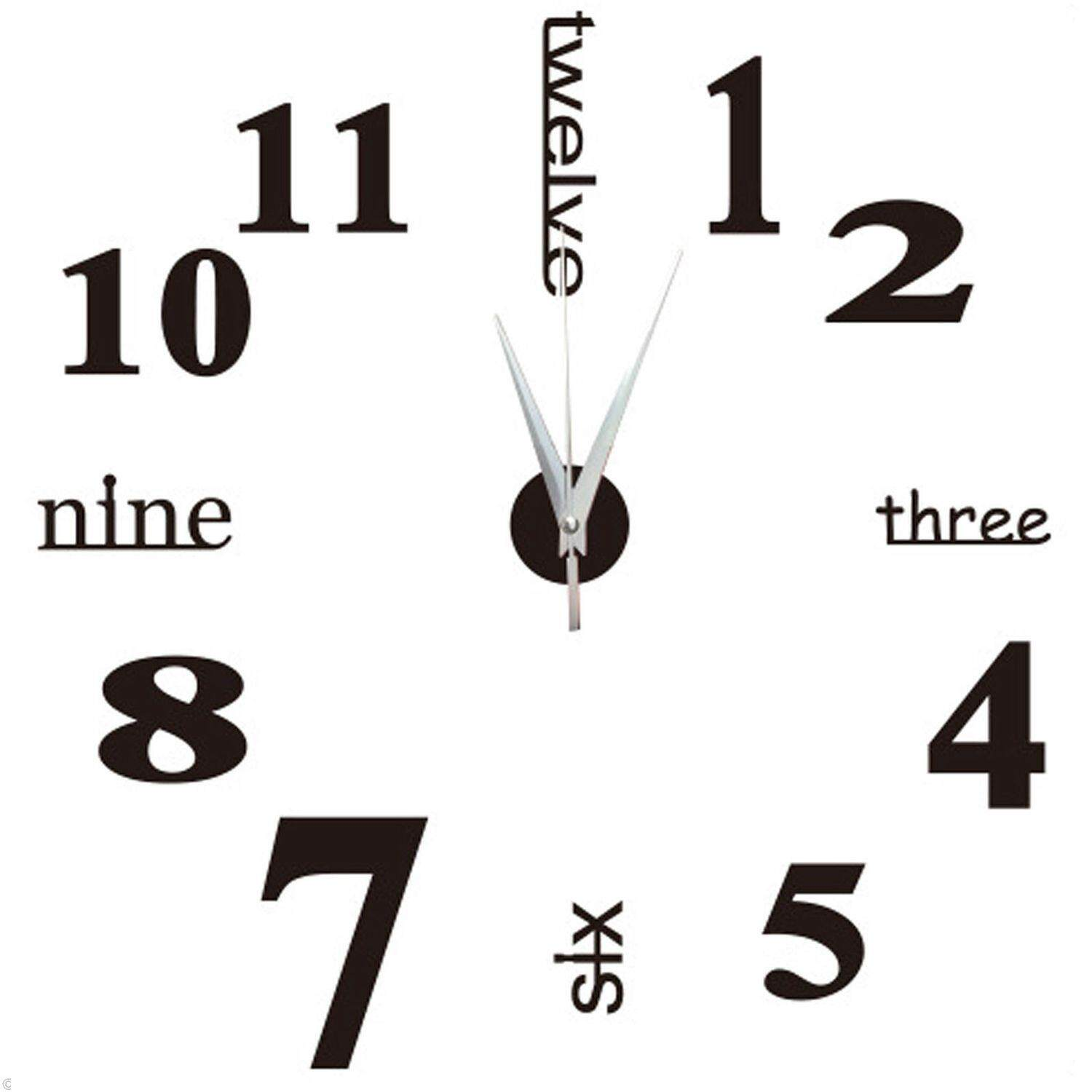 3D Large Wall Clock Mirror Sticker Big Watch Sticker Home Decor Unique Gift DIY black -