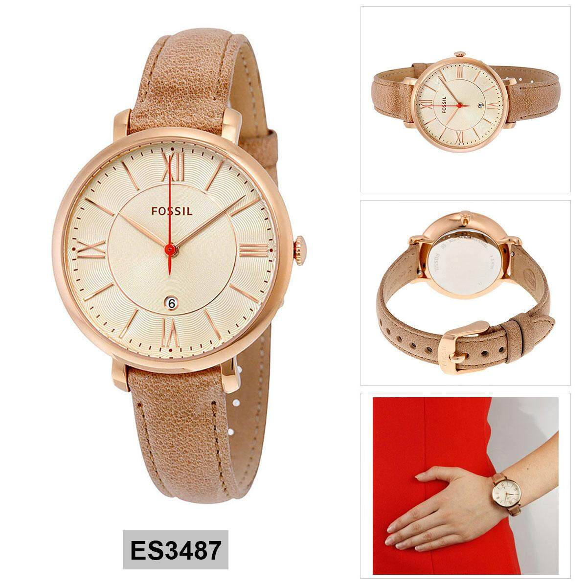 Buy Sell Cheapest Fossil Women Jacqueline Best Quality Product Jam Tangan Wanita Original Es3737 Tan Leather Brown Stainless Steel Case Strap Ladies Es3487