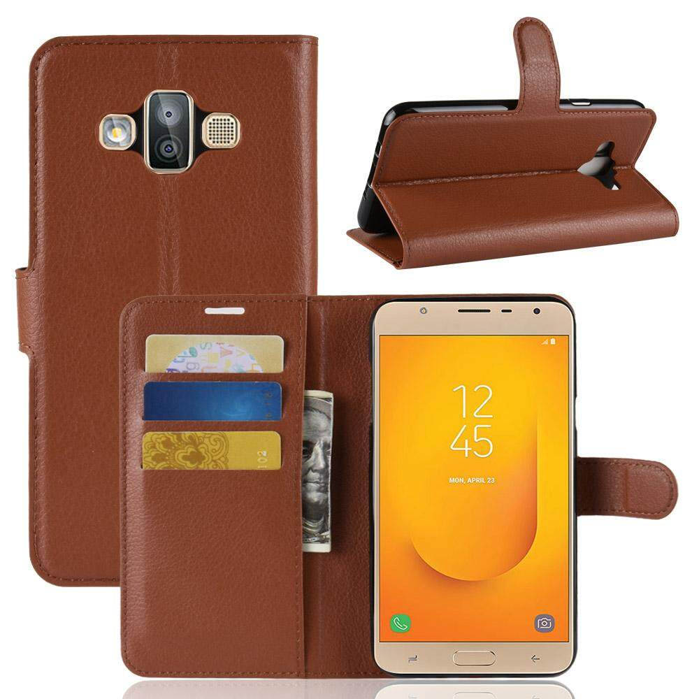 Leather Flip Cover Wallet Card Holder Case For Samsung Galaxy J7 Duo - intl