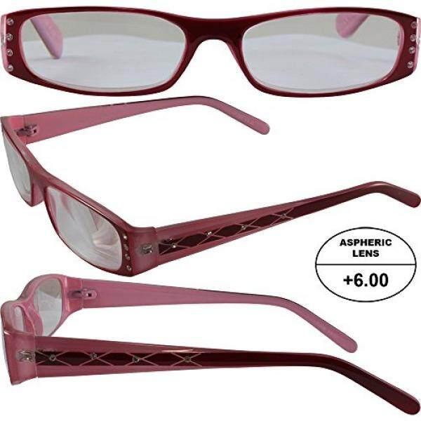 Wanita Tinggi Bertenaga Kacamata untuk Membaca: Merah dan Bingkai Merah Muda dan Yang Sesuai dengan Kasus + 6.00 Pembesaran Aspherical Lensa/dari Amerika Serikat