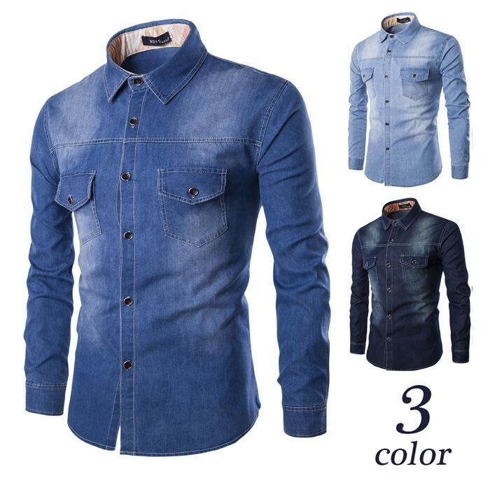 Lux Angner New Fashion Denim Shirt Men Long Sleeve Cotton Jeans Men Casual Two-Pocket Slim Fit Shirts For Male Large Size M-6xl By Silent Flower Online Store.