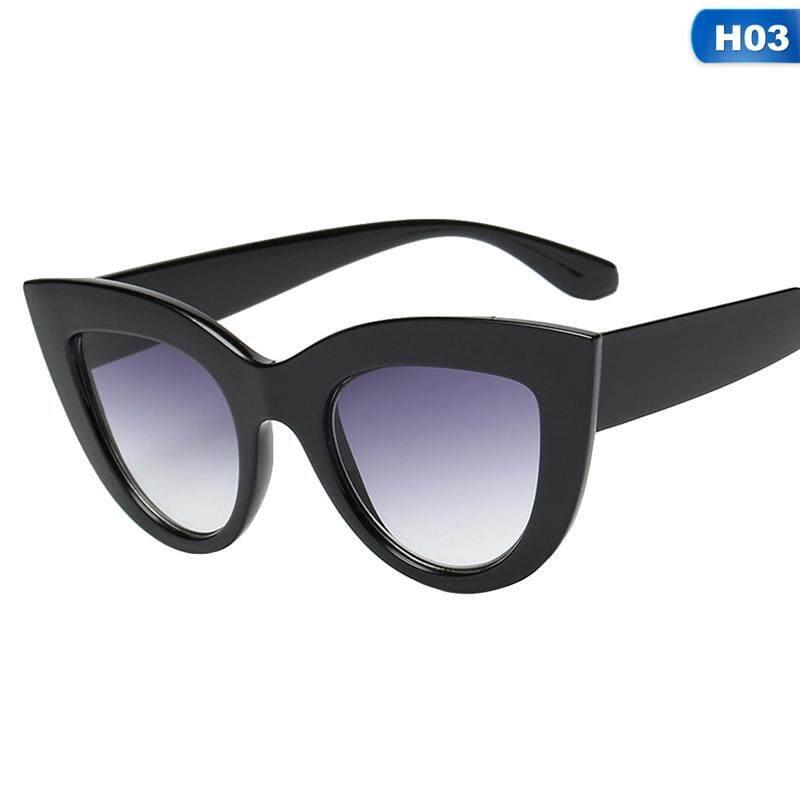 4f8e6868e999 BZY Retro Thick Frame Cat Eye Sunglasses Women Ladies Fashion Brand Designer  Mirror Lens Cateye Sun