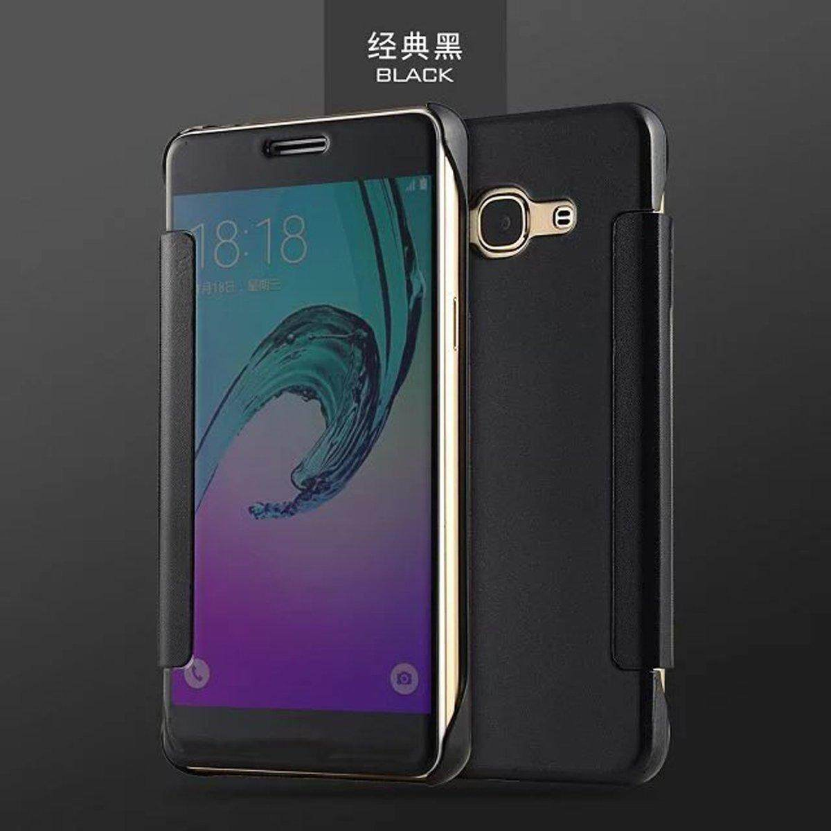 Detail Gambar For Samsung Galaxy J3 2016 / J3 Pro Plating PC Mirror Flip Case Cover with Smart View Terbaru