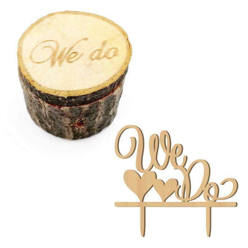 2pcs We Do Wedding Ring Box Cake Cupcake Toppers Rustic Wooden Ring Bearer Box Vintage Personalized Funny Wedding Cake Toppers Decorations Cake Insert Card Ring Holder For Wedding... - Intl By Sunnny2015.