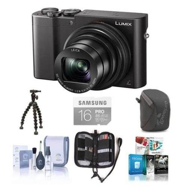 Panasonic Lumix DMC-ZS100 Kamera Digital 20.1MP Hitam-Bundle dengan 16 GB CLASS 10 SDHC Kartu camera Case, Peralatan Pembersih Memori Dompet Hotshot Flexpod Pro, Paket Perangkat Lunak
