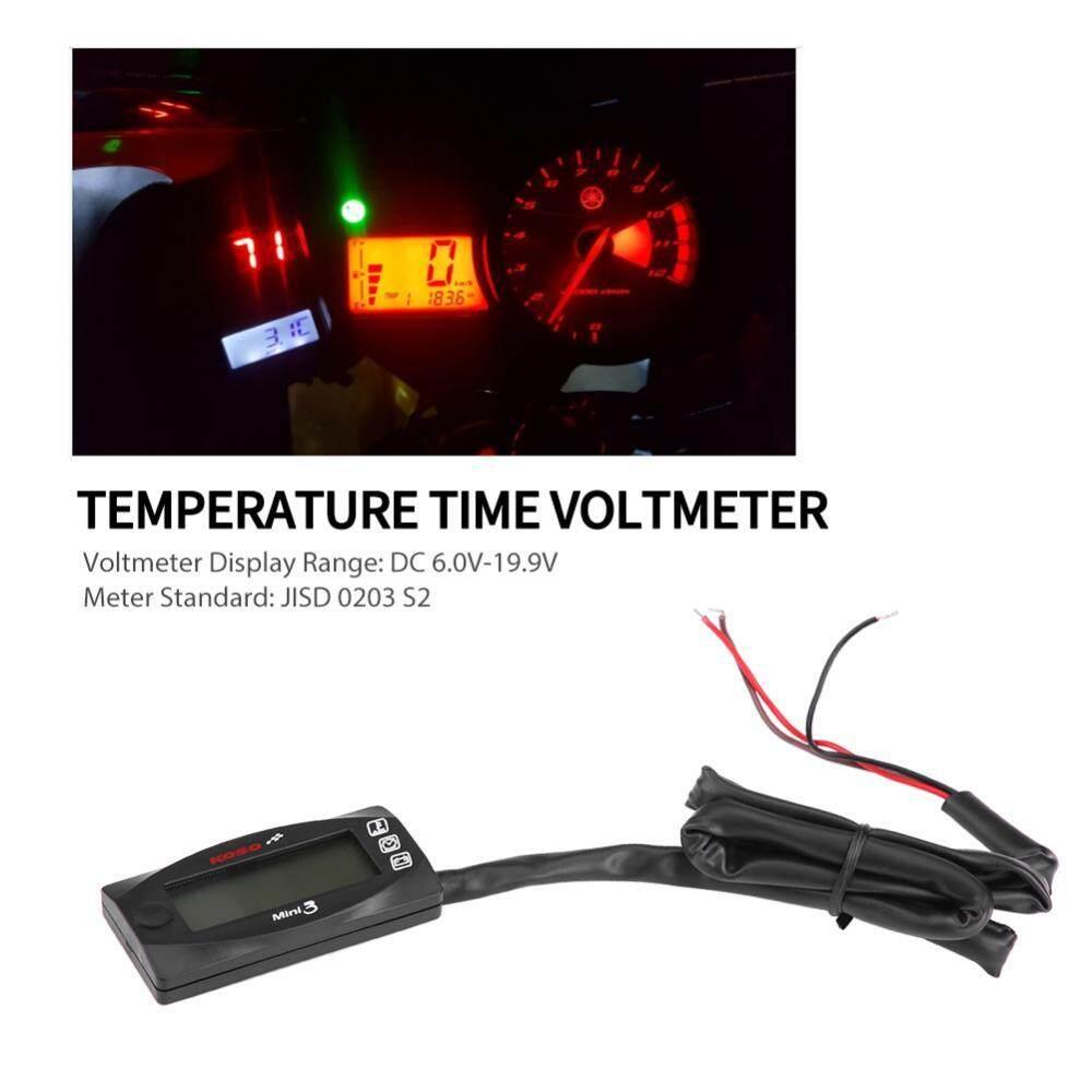 Mini 3-In-1 Layar Led Motor Udara Suhu & Waktu Jam Dan Voltmeter Pengukur Tegangan-Intl By Qilu.