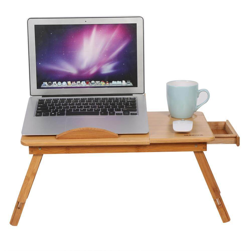Portable Folding Bamboo Bed Laptop Desk Adjule Lap Notebook Table Stand Tray With Drawer Intl
