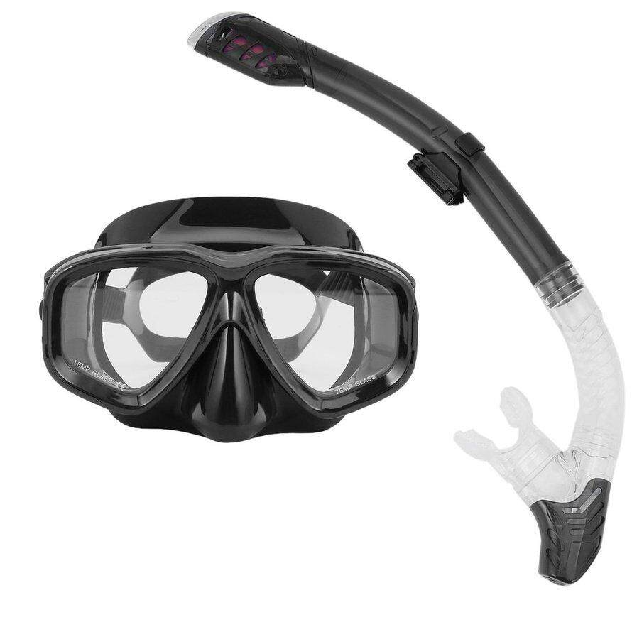 OSMAN Diving Masks Goggle Full Dry Silicone Snorkel Tube Set Water Sports Equipment black 3Pcs Free