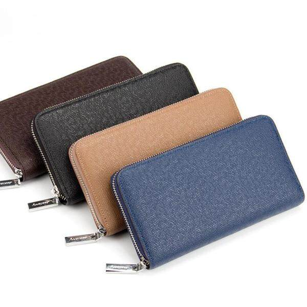 Unique2017 Mens Long Zipper Cross Pattern Wallet Casual PU Leather Multi-function Business Vertical Mens Handbag Clutch Wallet Money Clip ID Holder Card Holder Mobile Phone Bag