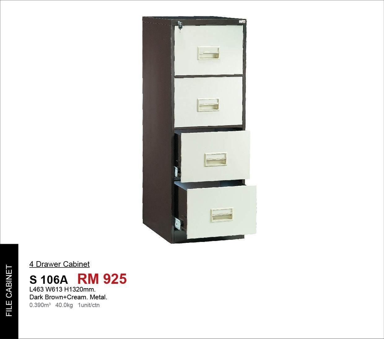 Strong 4 Drawers Metal Filing Cabinet With Lock (Brown + Cream Color)