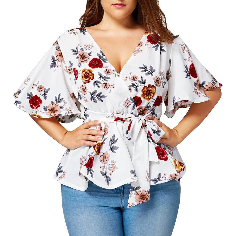 7f4979d34235b8 Fashion Womens Floral Print Plus Size Belted Surplice Peplum Blouse V-Neck  Tops - intl