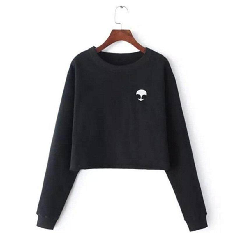 72e31545d07e1 Women Alien Print Crop Top Hoodie Sweatshirt Lady Casual Pullover Coat Spring  Long Sleeve Fleece Blouse