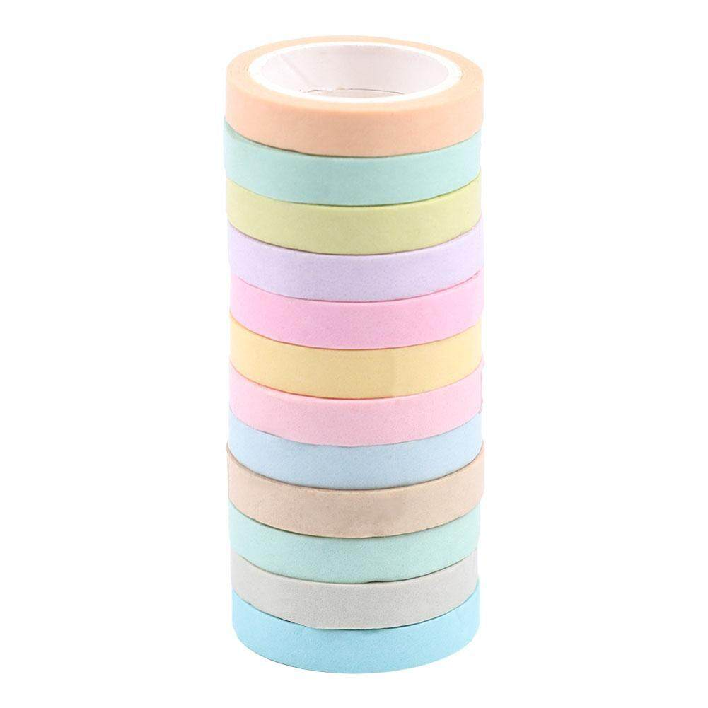 (enter Our Store All Product Enjoy Free Shipping)12pcs Lovely Colorful Rainbow Washi Paper Adhesive Tape Scrapbook Stationery Sticker By Companionship.