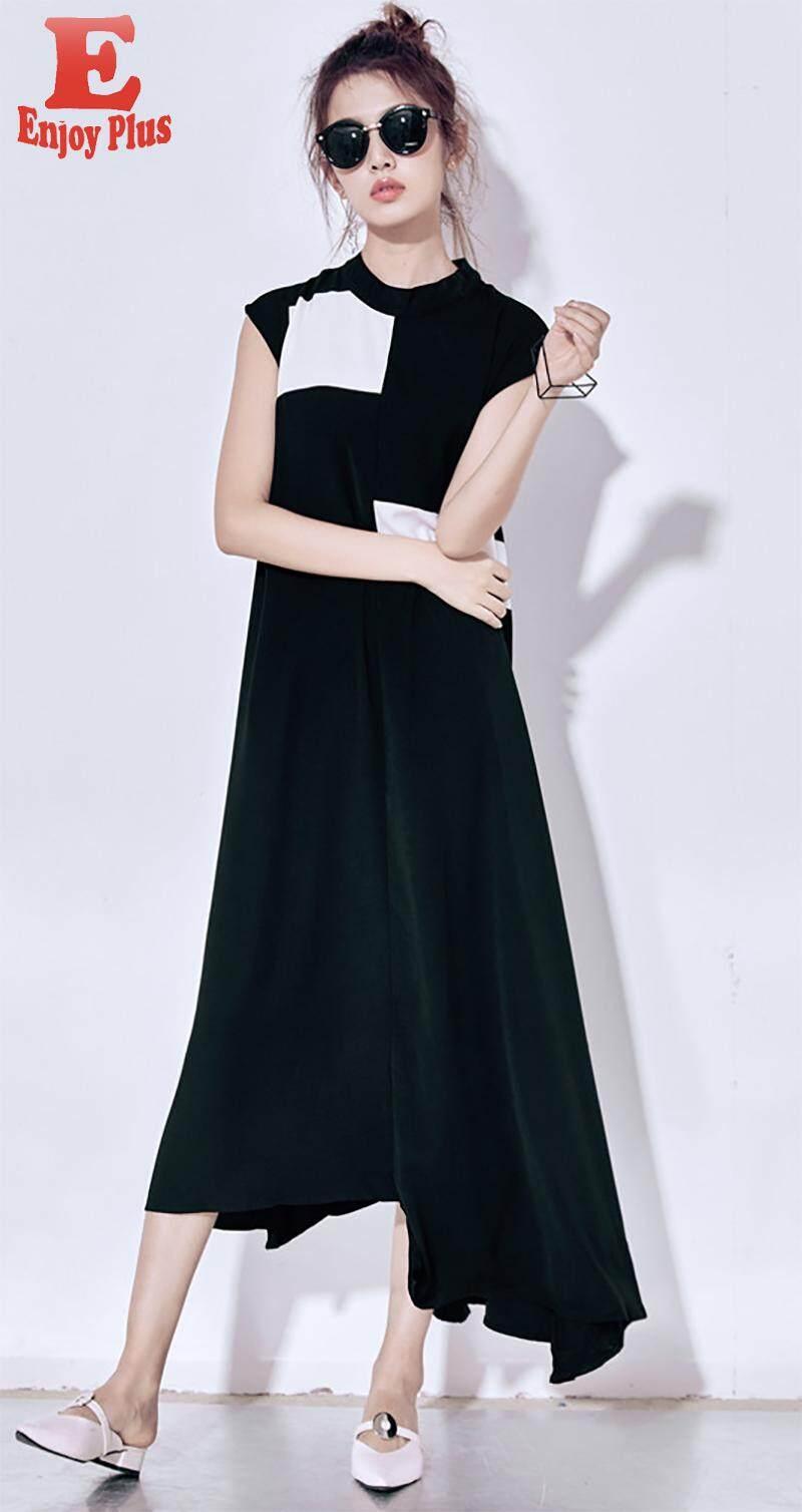 S M L Baru Musim Panas 2018 Chiffon Long Gaun Wanita Kasual Longgar Tanpa Lengan Hitam dan Putih